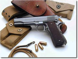 Still in use by the USMC, the 1911 semi-automatic handgun has been around over a century. Remember when it was used in all those school shootings in the 1950's. [Me neither.]