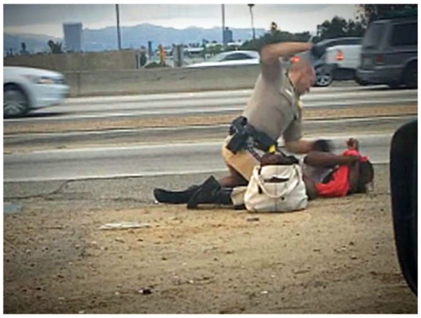 Click to see officer beating a woman repeatedly in the face for her own safety.