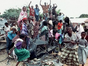 Somalis atop downed Black Hawk celebrate our choice to limit our response in Mogadishu
