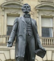 Statue of Lincoln in Richmond, capital of the Confederate States of America. The statue required the labor of over 2000 slaves.