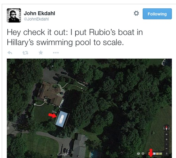 Purportedly a scale overlay of Rubio's boat in Hillary's pool. Oops.